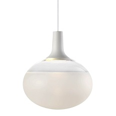 Elyptical frosted glass hanging light with white detail
