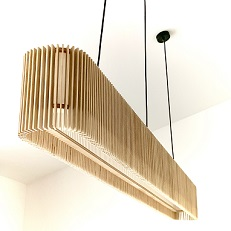 Suspended light fitting in timber